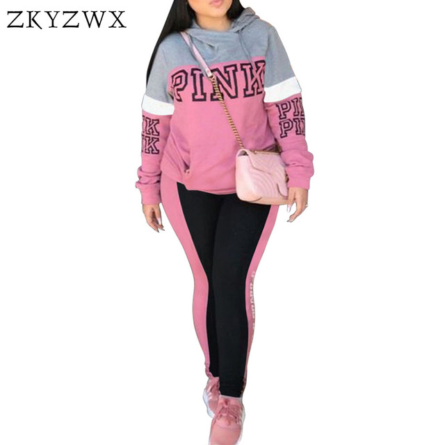 ZKYZWX Pink Letter Print Tracksuit Women Plus Size Sweatsuit Hoodies Tops  and Pants Suits Casual 2pcs 3513ae813d3c