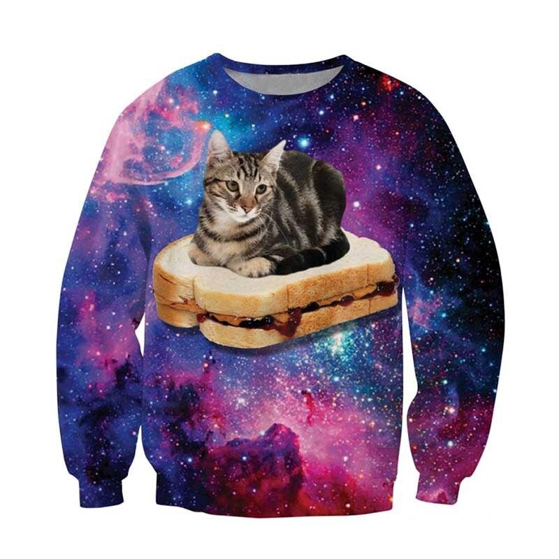 PBJ Space Kitty Crewneck Sweatshirt adorable kitty sandwich cozy Sweats Galaxy Nebula Jumper Tops For Unisex Women Men