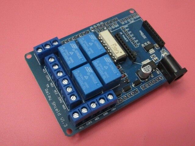Бесплатная Доставка 5 шт./лот 4 канал 5 В Релейный модуль плата расширения Реле Щит V1.3 для arduino совместимый