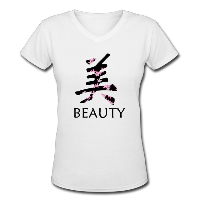 New Japanese Symbol For Love Character T Shirts Women V Neck Short