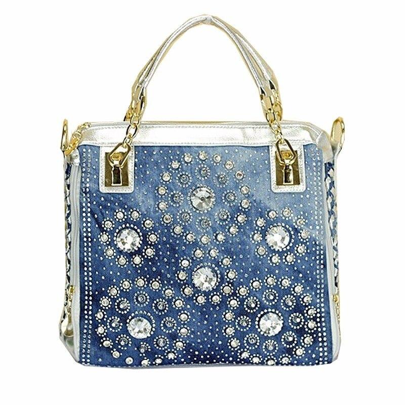 Frauen-Handtaschen des Gold- und Sliverdenimjeans beiläufige - Handtaschen