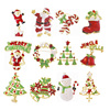 12pcs New Year Fashion Christmas Brooch Snowman Santa Claus Shoes Carriage Brooch Jewelry For Christmas Color