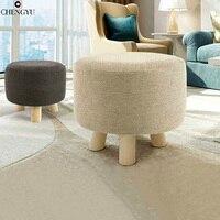 Modern Fashion Stool Solid Wood Small Sench Washable Fabric Sofa Stool Creative Low Stool Detachable Wash