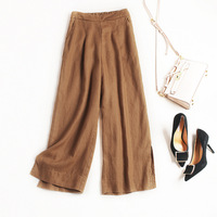 New 2018 Spring Summer Fashion Women Wide Leg Pants Elegant Linen Pants Elastic Waist Side Slit
