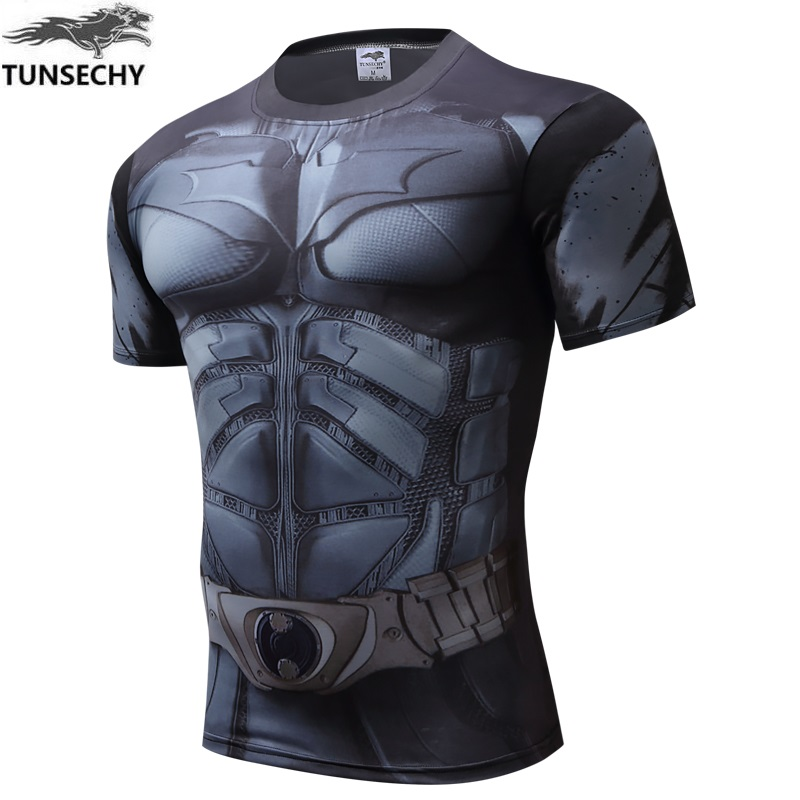 New 2017 Marvel Comic Superhero Compression Shirt Superman Captain America Iron man Fit Tight Bodybuilding T Shirt
