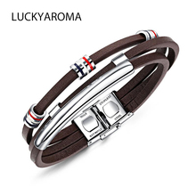 LUCKYAROMA 2018 Mens Brown Genuine Leather Stainless Steel 3 Rows Bracelets Bangles Punk Rock Style For Boy friend Gift