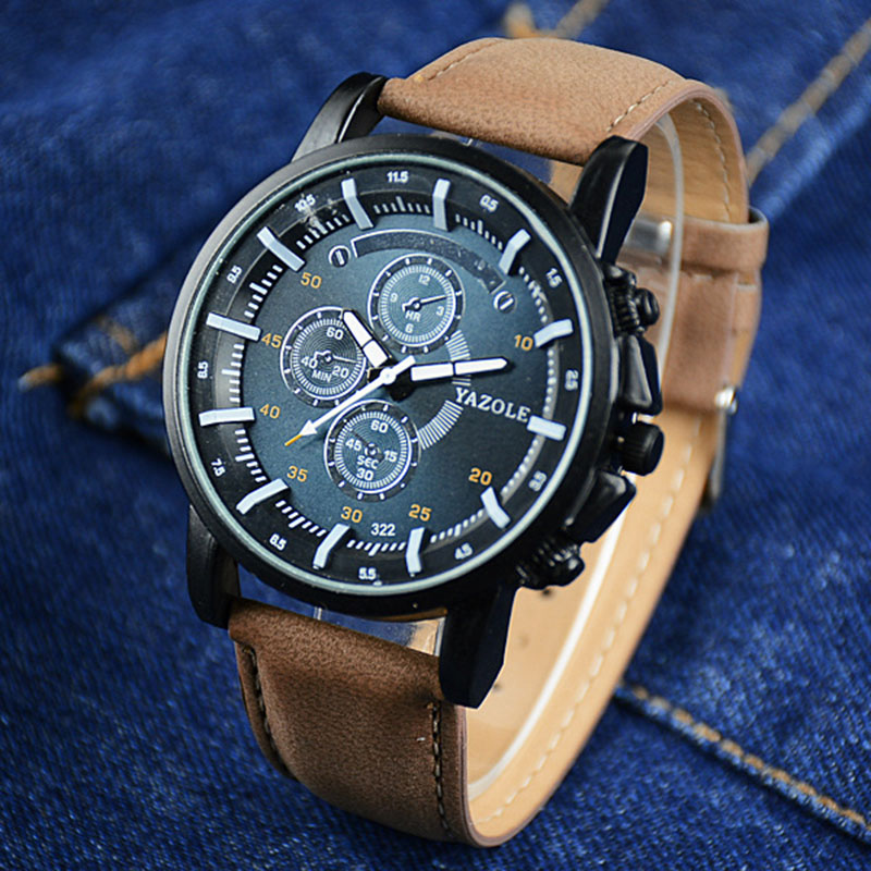 YAZOLE Top Brand Watch Men Watch Fashion Luminous Sport Watches Waterproof Leather Men s Watches Clock