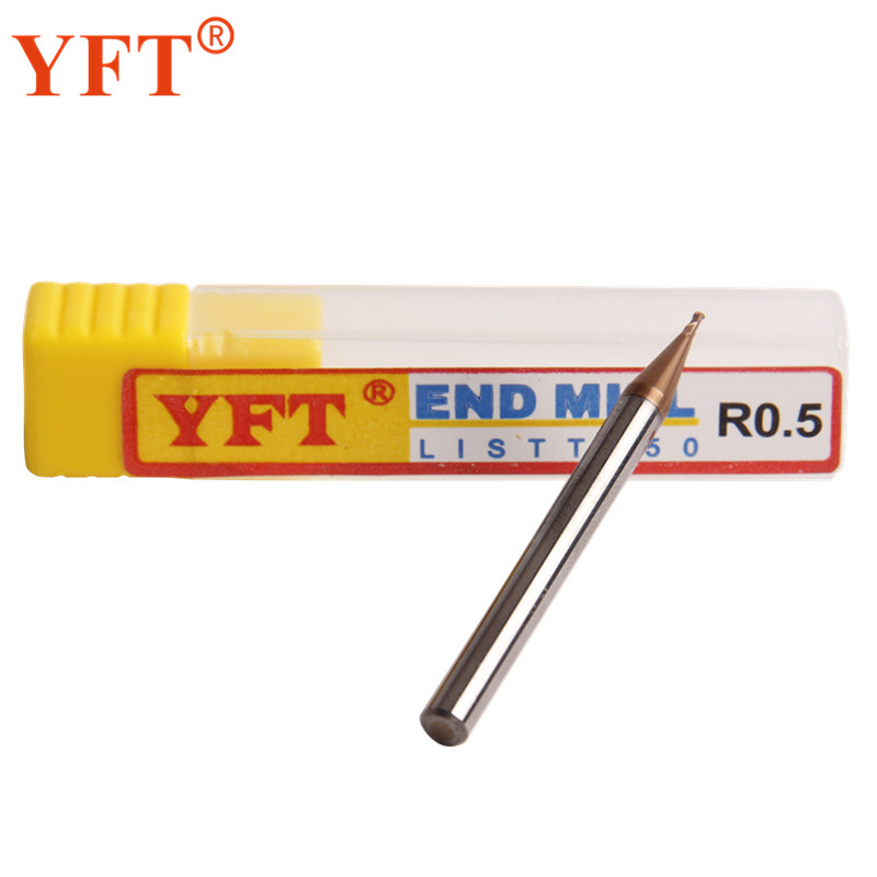 YFT Radius 0.5mm 2-blade Carbide Ball End Mills HRC 55 Degrees Tungsten Carbide Milling Cutters Router Bit CNC Tools yft carbide ball end mills radius 4mm router bit 2 blade hrc 60 milling cutter face cutter straight cnc tools