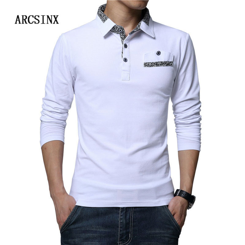 ARCSINX Slim Fit   Polo   Shirt Men Plus Size 5XL 4XL 3XL Long Sleeve Men   Polos   Casual Cotton Men   Polo   Shirt White Big Size   Polos