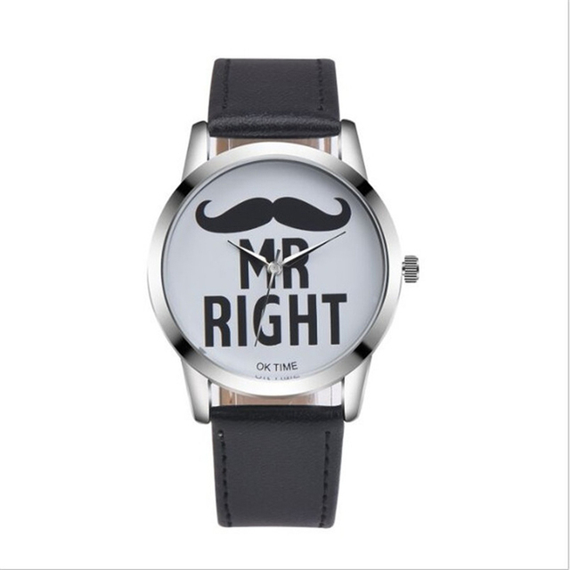 Fashion Beard Lips Pattern Couple Quartz Wristwatches Simple Casual Leather Stra