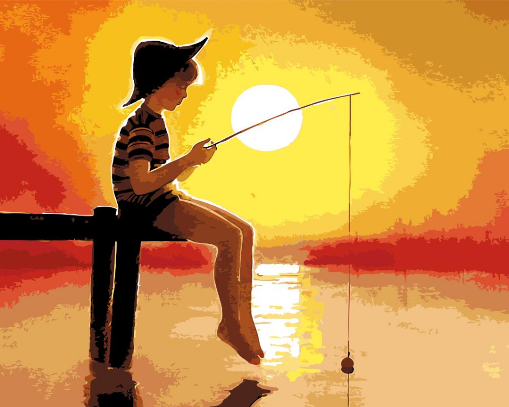 Sonnenuntergang angeln junge Bild Home Decor kein rahmen Malerei ...