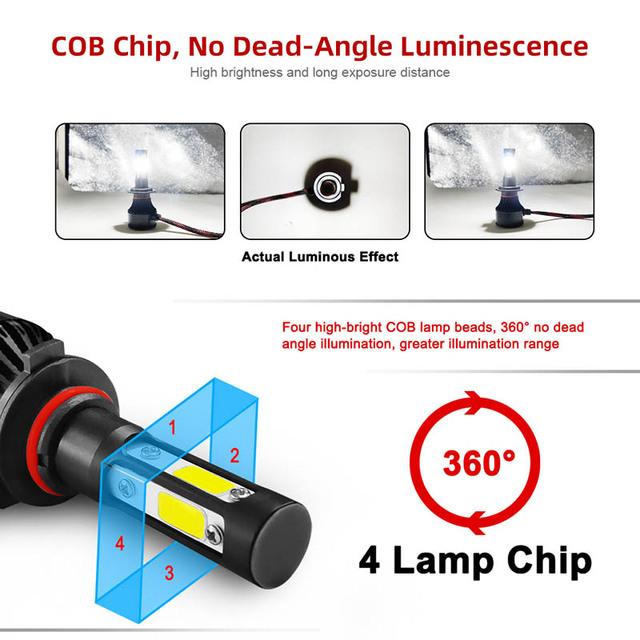 TF30 New 4 Side Lumens COB 100W 10000lm H4 Hi lo H7 H11 9005 9006 Car LED Headlight Bulbs Auto Led Headlamp LED C6 Light 12v 24v