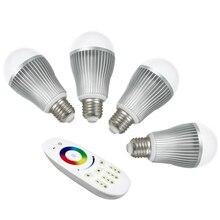 4 шт. 9 Вт 2,4 ГГц РЧ светодиодная RGBW лампа+ 1 шт. 2,4 ГГц RGBW 4 зоны светодиодный сенсорный пульт(Mi-Light