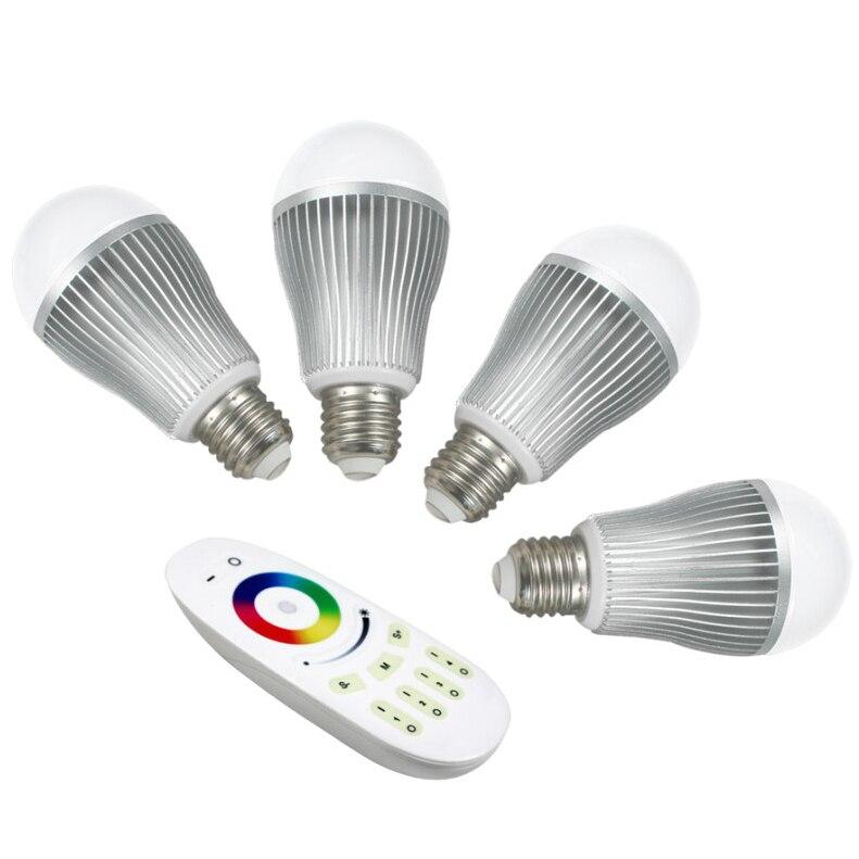 4 pièces 9 W 2.4 Ghz RF LED RGBW ampoule + 1 pièce 2.4 Ghz RGBW 4 zones LED tactile à distance (mi-lumière)