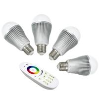 4pcs 9W 2.4Ghz RF LED RGBW Bulb + 1 piece 2.4Ghz RGBW 4 zone led touch remote(Mi Light)