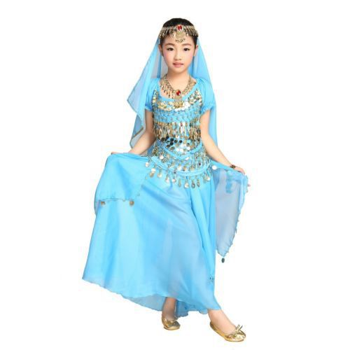 2015 NEW High Quality KIDS Oriental Belly Dance Costumes Suit 5Pieces Children Bollywood Indian Vestidos Long