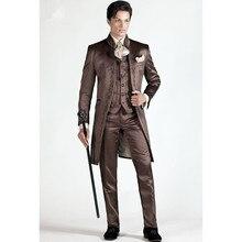 ブラウン刺繍スリムフィットのためのウエディングステージパフォーマンスタキシードスタイル新郎ウェディングスーツブレザー (ジャケット + パンツ + ベスト)