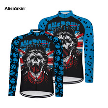 Skull cycling jersey men long sleeve black new clothing bike clothes 6559