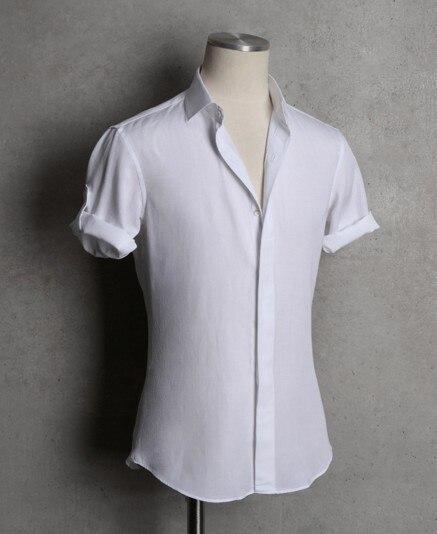 Обычный мужчины в лето короткий рукав приталенный fit белый свободного покроя рубашки с большим размером QR-1511