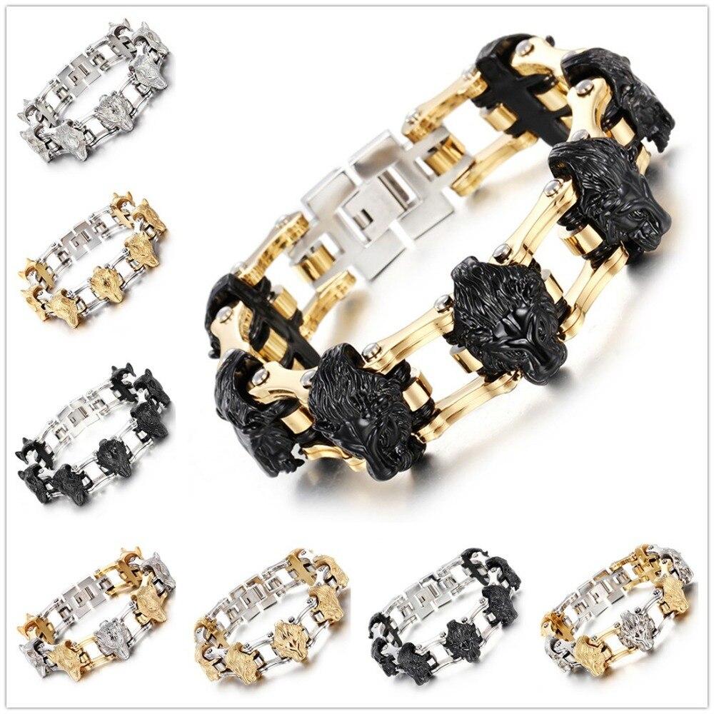 Punk gothique mâle bijoux acier inoxydable argent or noir moteur vélo chaîne hommes crâne Lion loup Bracelet Bracelet