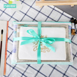 Never Watercolor Collection Cosmetic Bag Set Stationery Sets For Girls Three Bags Set Pu Leather Foil Zipper Bag Gift Stationery