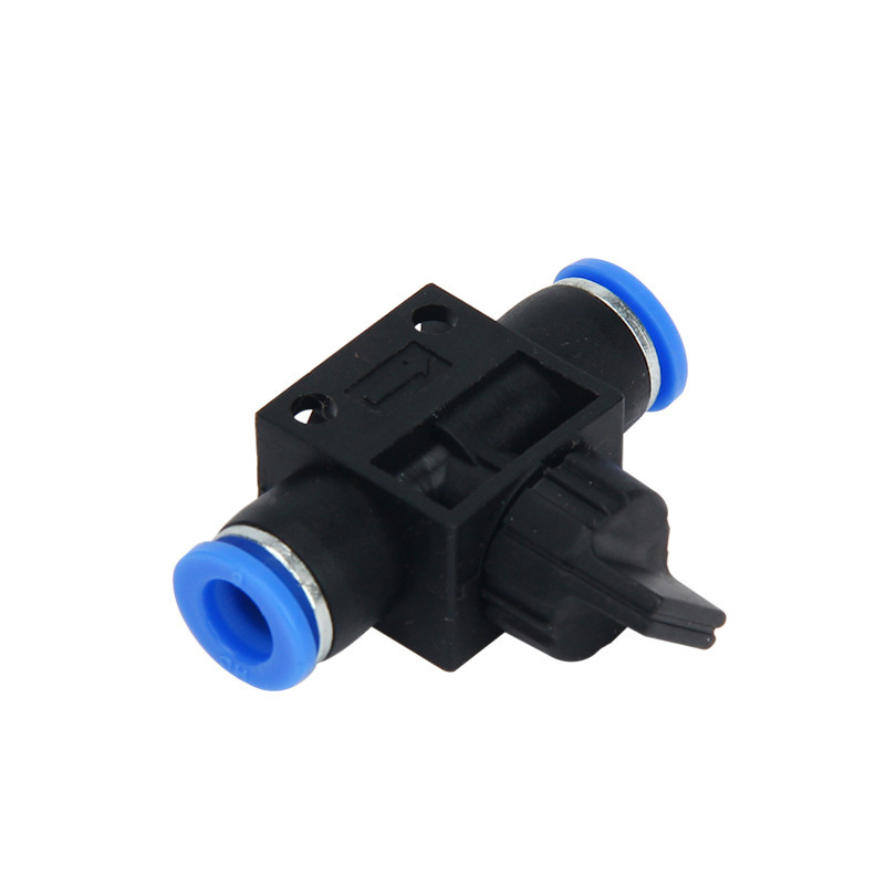 Free shipping HVFF 4mm 6mm 8mm 10mm 12mm Pneumatic components direct manually open joint flow valve switch gas in Pneumatic Parts from Home Improvement