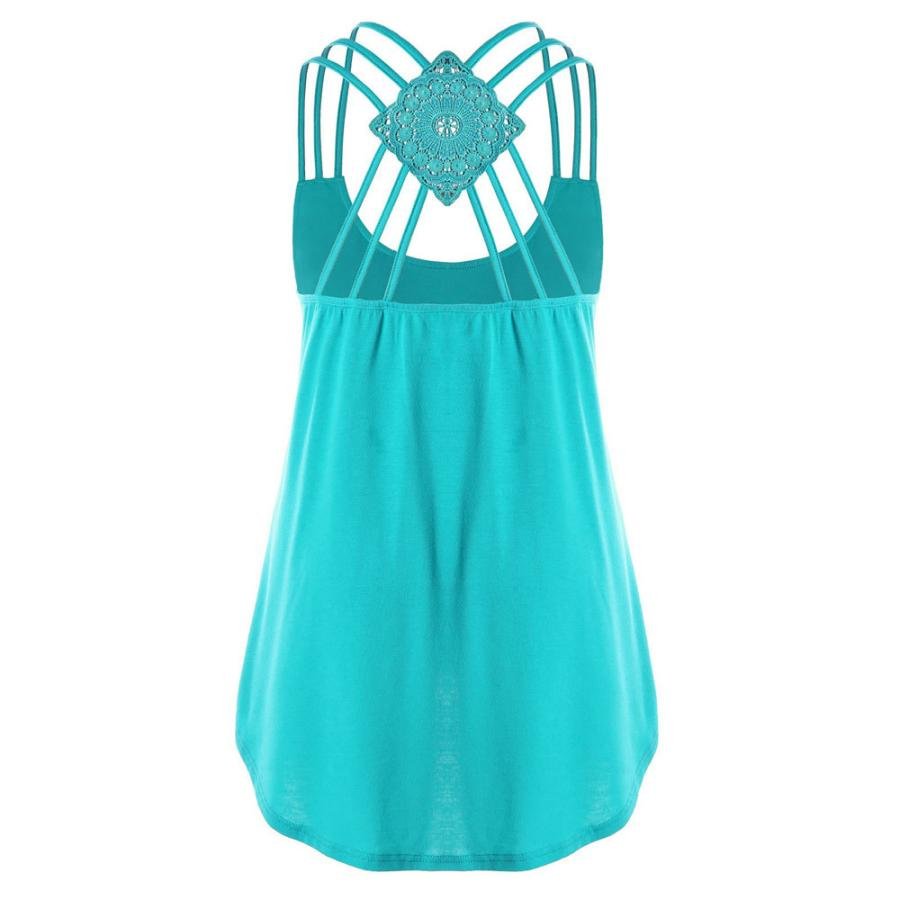 OOEOO Women Summer Bandages Sleeveless Vest Top High Low Tank Top Notes Strappy Tank Tops