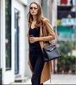 Hot 2016 mulheres britânico de moda longo estilo elegante da camurça do falso Trench Coat / Designer com cinto Casual OL fina trincheira / Outerwear topo