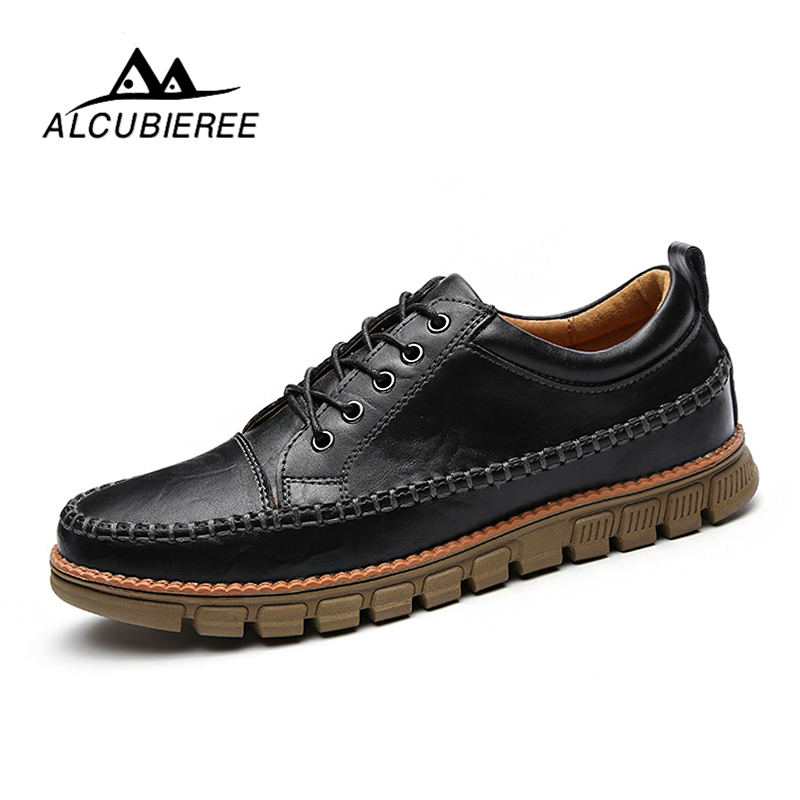 2018 ALCUBIEREE New Casual Boots Men Leather Flats Lace Up Men Ankle Boots Winter/Autumn Men's Shoes Casual Short Boots Fashion men spring autumn full grain leather ankle boots lace up fashion casual real leather men boots 20170107