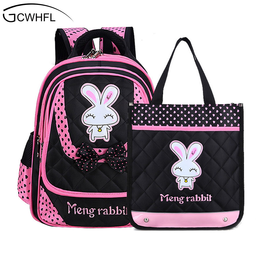 GCWHFL 2 Bags Sets Children School Backpacks For Girls Bags Nylon Cartoon Bunny Kids Backpack School Bag Little Girl Knapsack