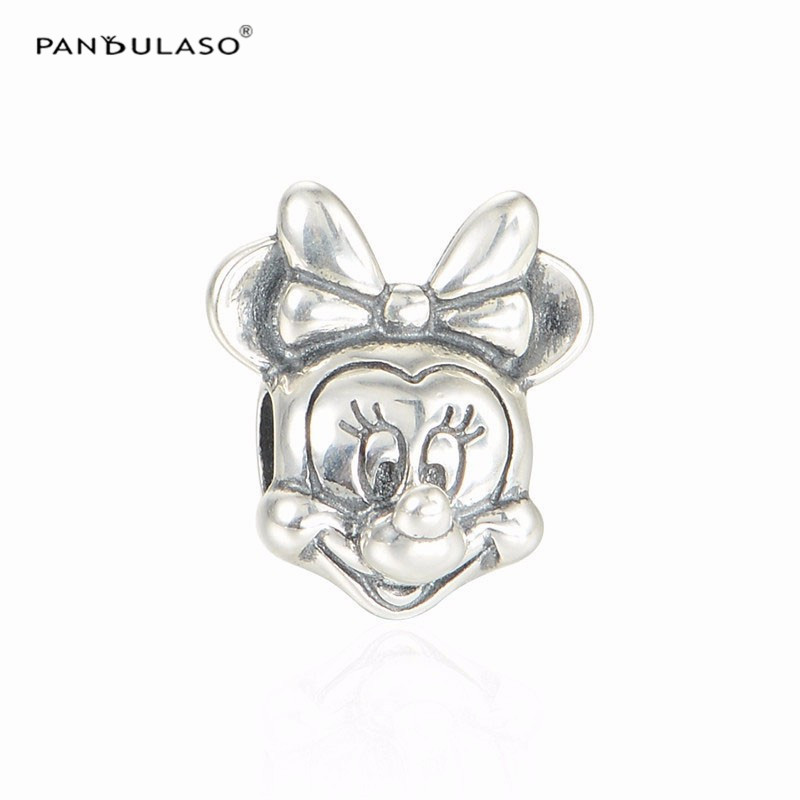 Pandulaso Minnie Head Mouse Portrait Charm 925 Sterling Silver Beads for Jewelry Making Fit DIY Charms Bracelets & Necklaces