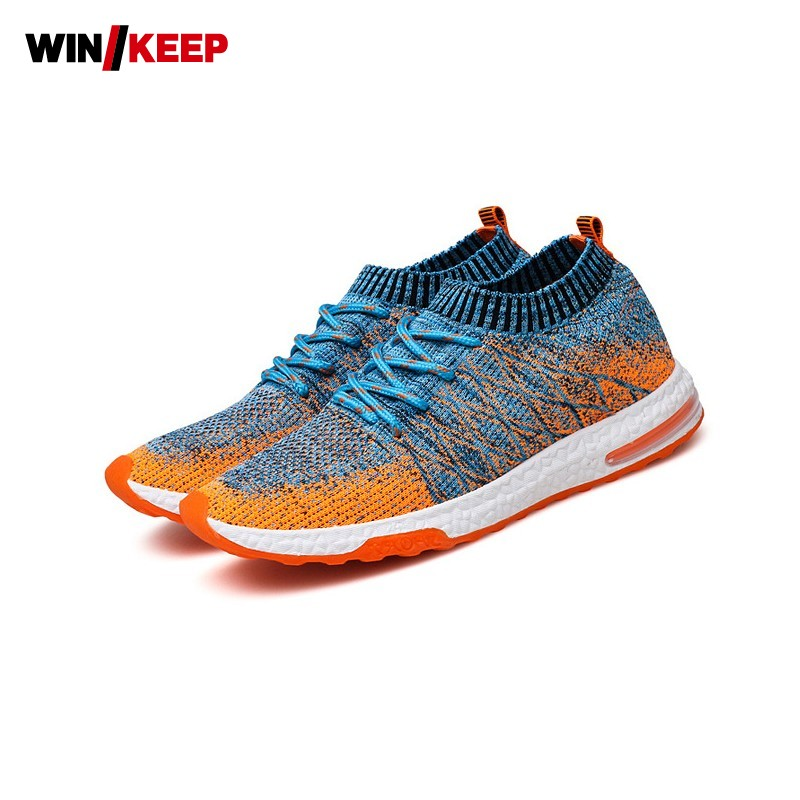 Spring Men Outdoor Running Shoes Stretch Slip On Sports Sneakers Breathable Athletic Wor ...