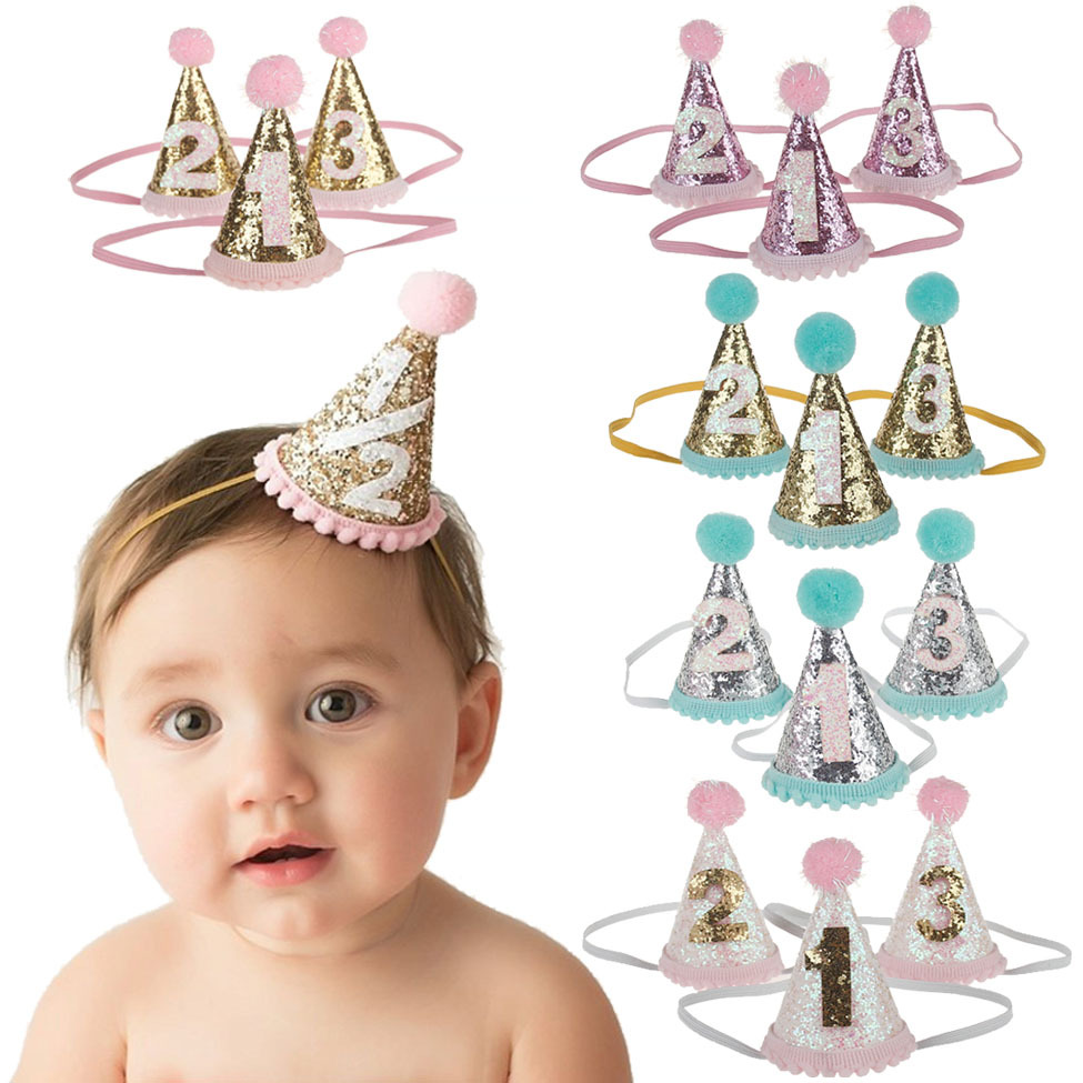 Sparkling Hair Accessories Crown Baby Girl Headbands Hairball Elastic Multicolor Infant Baby Headband Birthday Party Headwear