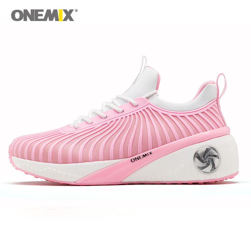ONEMIX Woman Running Shoes For Women Pink Sports Shoe Height Increase Retro Classic Athletic Trainers Outdoor Walking Sneakers 2017brand sport mesh men running shoes athletic sneakers air breath increased within zapatillas deportivas trainers couple shoes