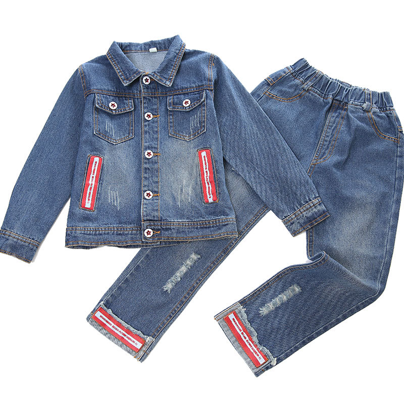 Children Autumn Spring Girls Clothing Sets Denim Jacket + Jeans 2 Piece Set Girl Outfit 4 6 8 10 12 14 Kids Clothes tracksuit girls sports suits fashion toddler girl clothing sets 2018 spring autumn sequin outfit clothes size 4 6 12 14 year