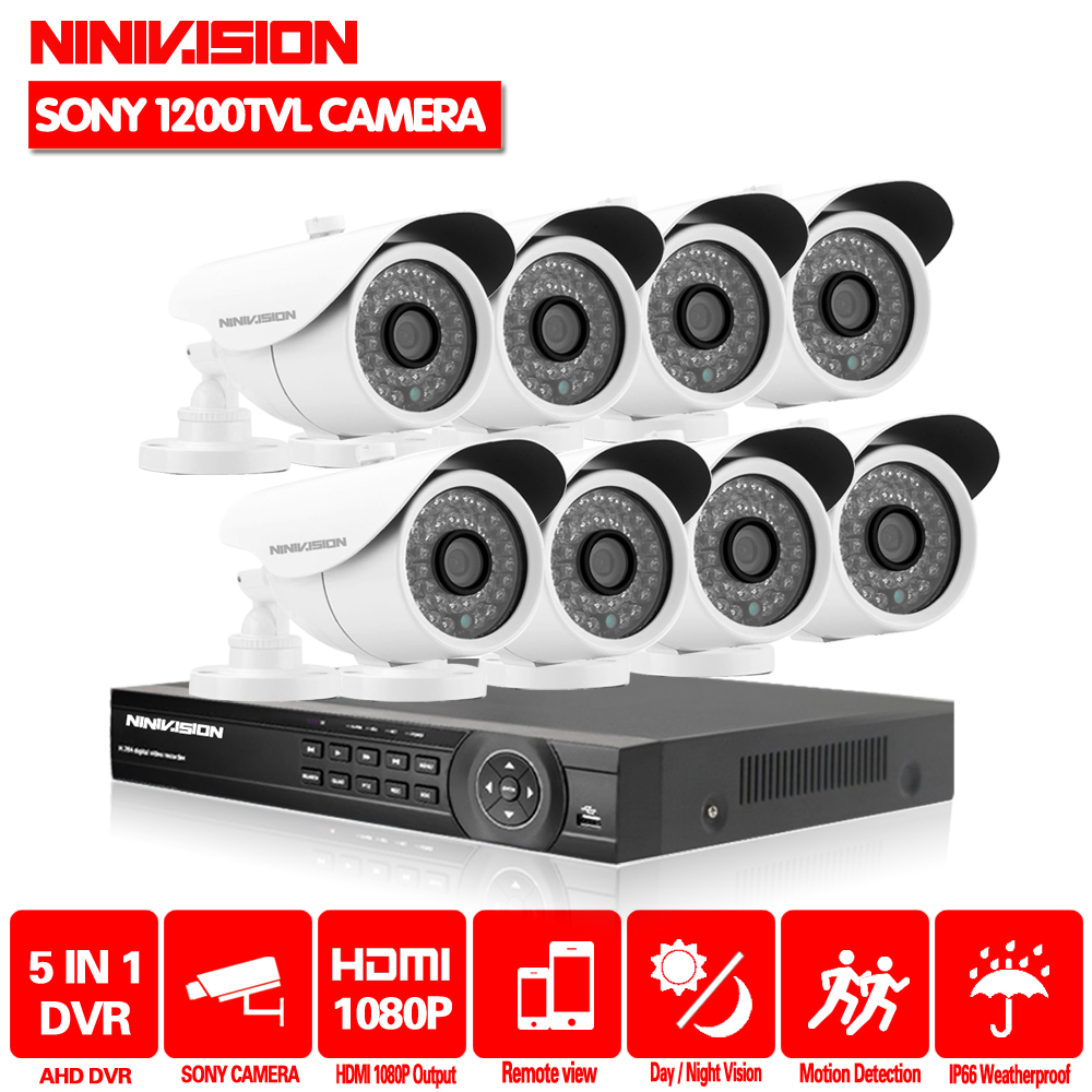 NINIVISION HDMI 8CH CCTV Security Cameras DVR System 8PCS 1200TVL Sony CCD with IR-cut outdoor cameras 8ch Kit for CCTV Systems image