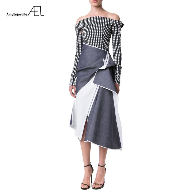 AEL High Waist Patchwork Denim Skirt Flounce Ladies Longuette 2017 Saia Midi Summer Runway Women's Clothing Jupe Longue