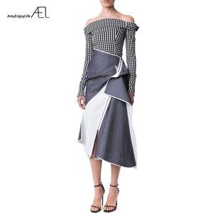 Image 1 - AEL גבוה מותניים טלאי ג ינס חצאית להתנפנף גבירותיי Longuette 2017 Saia Midi קיץ מסלול נשים של בגדי נהיגה לראשונה חצאית כיסא