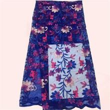 Elegante abendkleid material Afrikanische blume stickerei tüll stoff Französisch net textil DN45 (5 yards/lot)