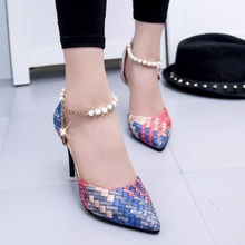 Free shipping autumn/spring fashion ol pointed toe single shoes women's Weave high heel shoes