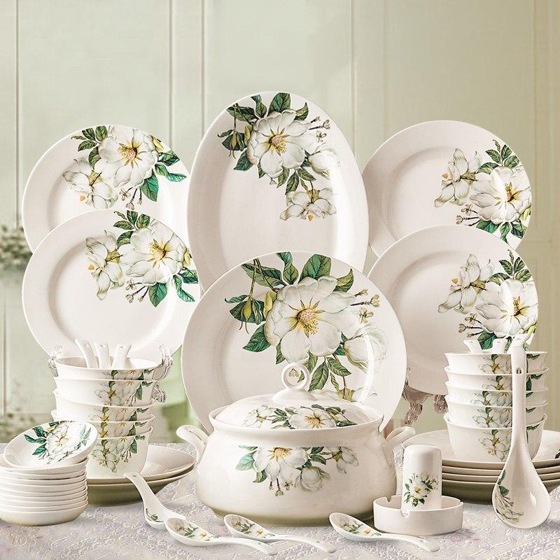 28 Pieces Ceramic dinner sets bowl dishes plate soup bowls servies set borden tableware 100