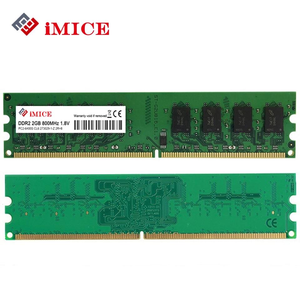 IMICE Usato DDR2 PC Desktop 2 GB di RAM 800 MHz 667 Mhz PC2-6400U CL5-Pin 1.8 V Per Intel AMD Compatibile Computer di seconda mano memoria
