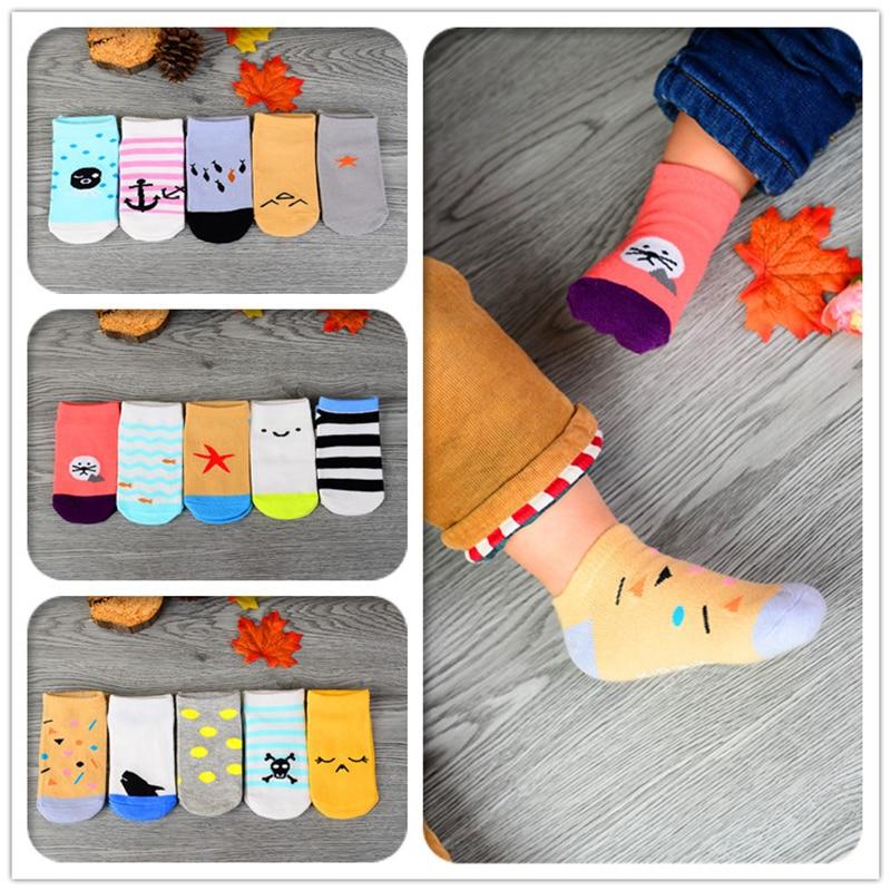 5pairs karikatūros medvilnė Kūdikių kojinės berniukų mergaitė - Kūdikių drabužiai