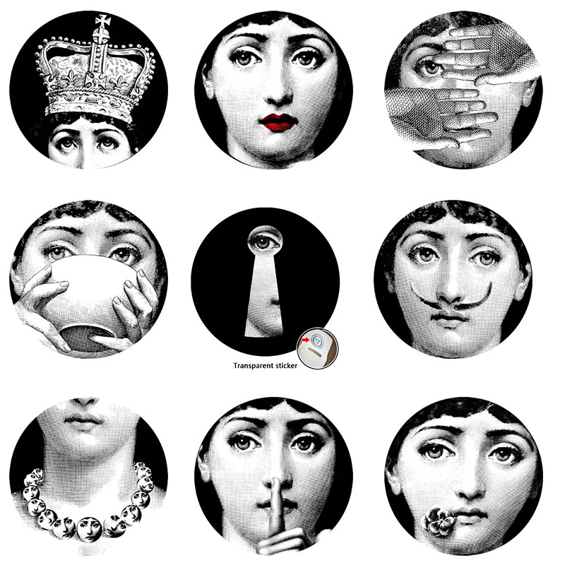 2017 fornasetti wallpaper designer 9pcs milan transparent wall stickers for wall decoration - Fornasetti faces wallpaper ...