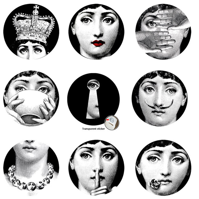 2017 Fornasetti Wallpaper Designer 9Pcs Milan Transparent Wall Stickers For Decoration Living Room Five Size