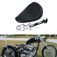 Motorcycle    Flame Pattern Designed Solo Spring Saddle Seat For Harley Bobber Chopper Custom