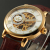 SEWOR Male Clock Slim Double Side Transparent Mens Watches Top Brand Luxury Golden Case Mechanical Skeleton