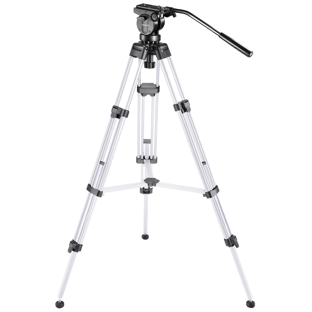 Neewer Pro Video Camera Tripod 61 inches  Aluminum Alloy with 360 Degree Fluid Drag Head Quick Shoe Plate Bubble Level (Silver) kapro high precision aluminum alloy horizontal ruler 360 degree rotating bubble level 40cm 60cm