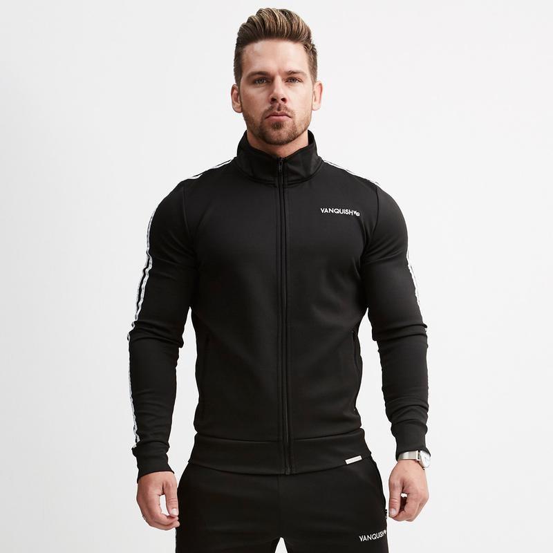 Mens sportswear 2018 mens brand fitness zipper shirt striped mens casual jacket mens fashion exercise clothing mens clothin