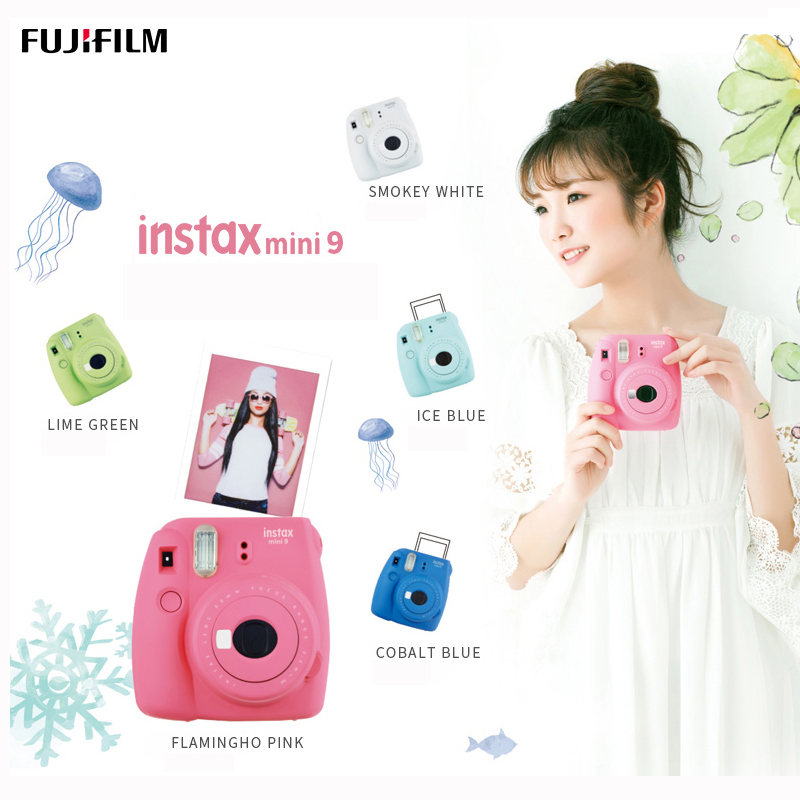 Fujifilm Instax Mini 9 Instant Camera - Flamingo Pink, Ice Blue, Cobalt Blue, Smoky White And Lime Green 5 Colors Free Shipping